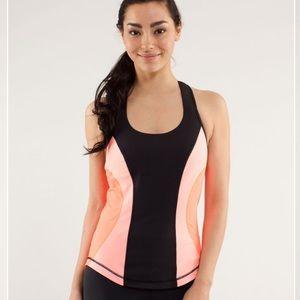 LULULEMON| Cardio Kick Tank - Coral, Black & Pink SZ 6 EUC, back pocket for keys
